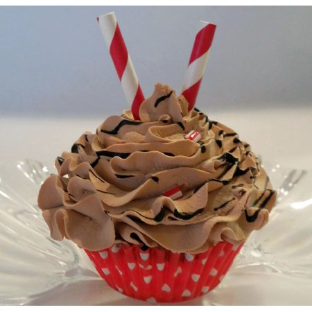 Chocolate Peppermint Cupcake Faux Cupcake- Fake non edible decoration Prop Dezicakes