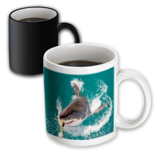 3dRose Great White Shark Takes The Bait - Magic Transforming Mug, 11-ounce