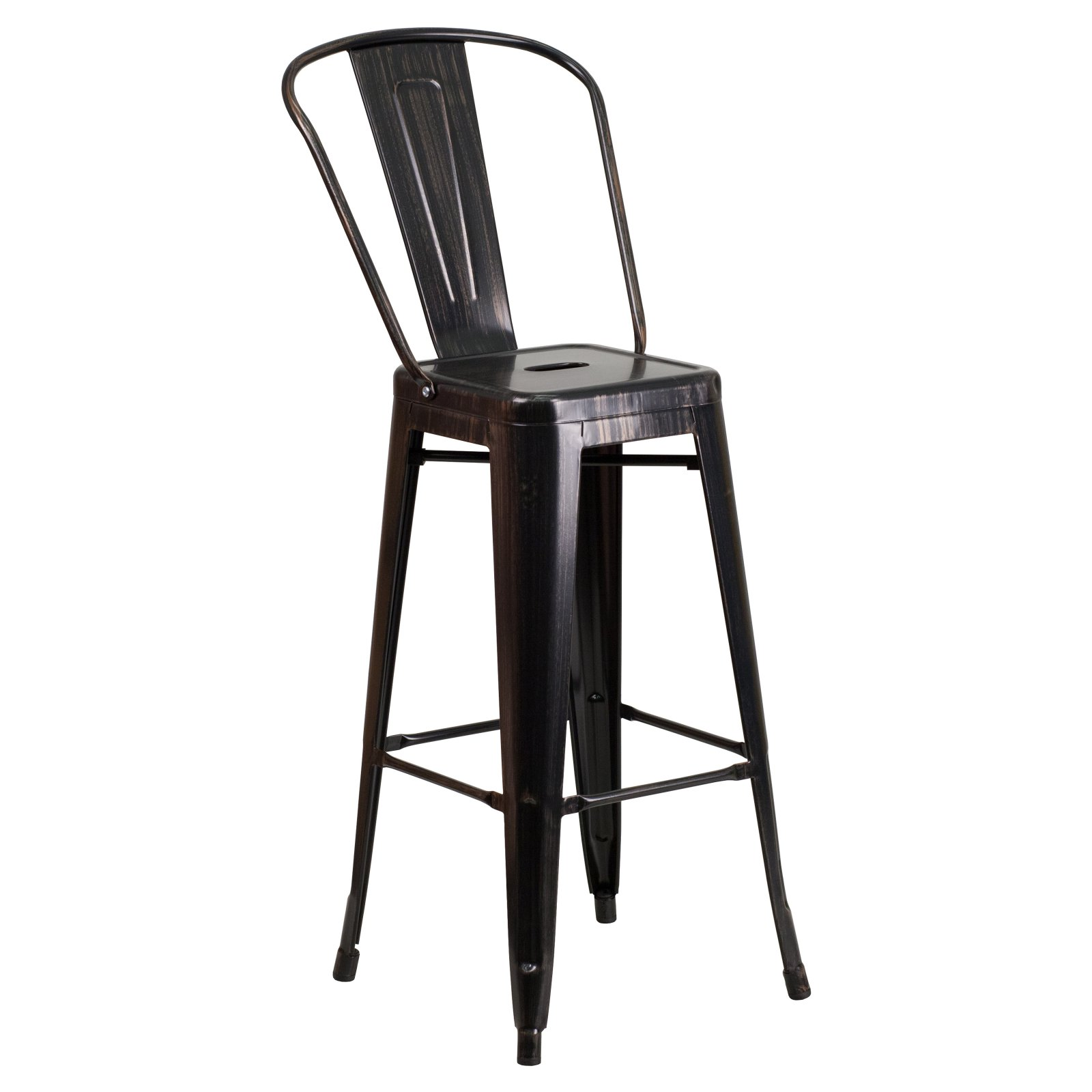 Flash Furniture 30'' High Black-Antique Gold Metal Indoor-Outdoor Barstool with Back