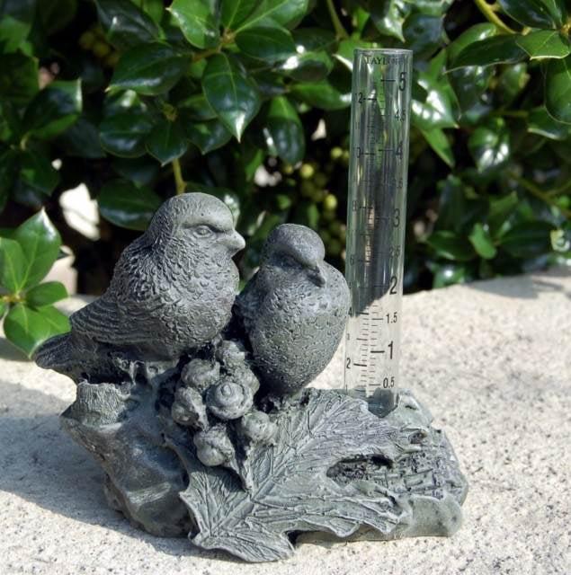 Bird on Branch Rain Gauge in Moss Finish by CPI Inc