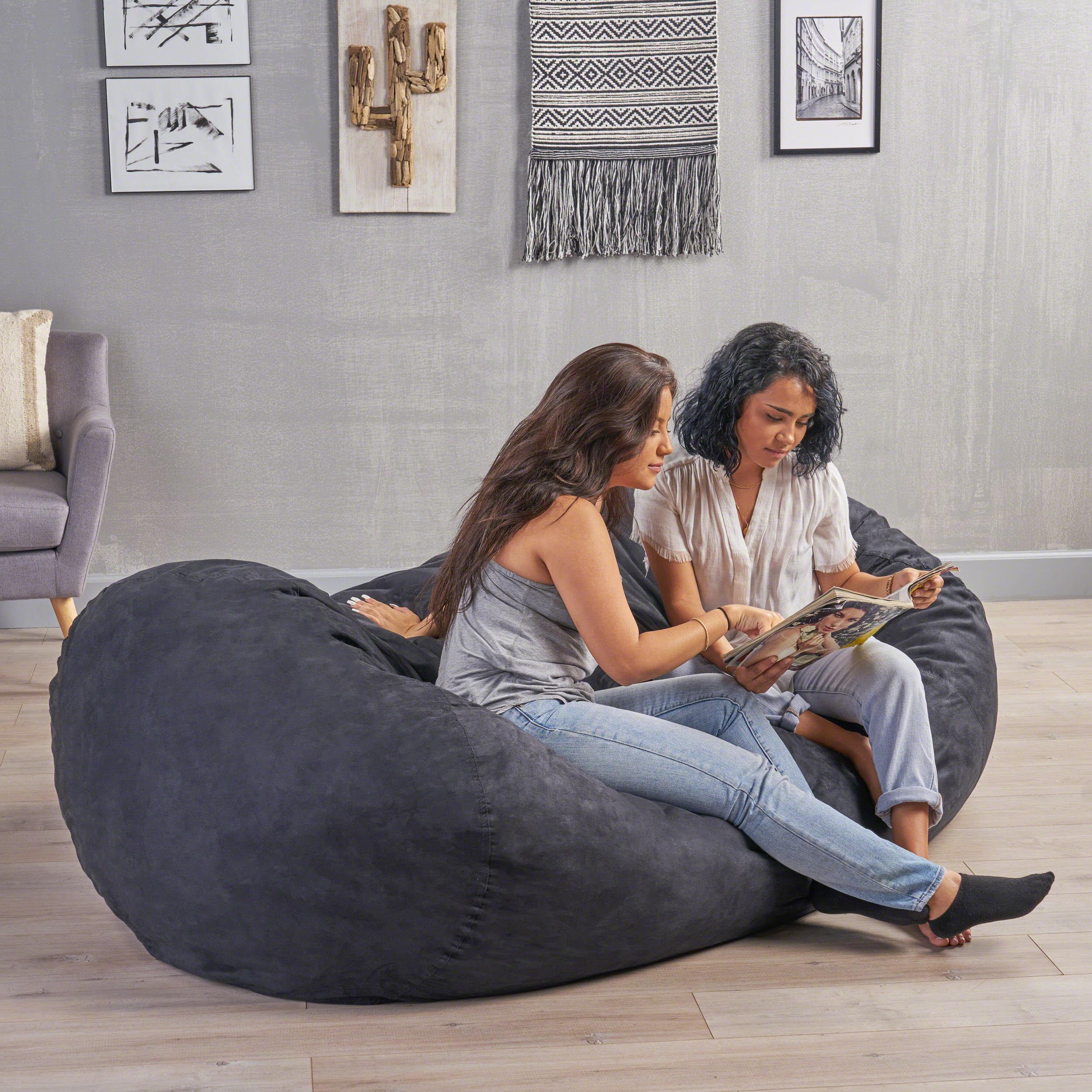 Tremendous Noble House Logan Faux Suede 8 Foot Lounger Bean Bag Multiple Colors Walmart Com Machost Co Dining Chair Design Ideas Machostcouk