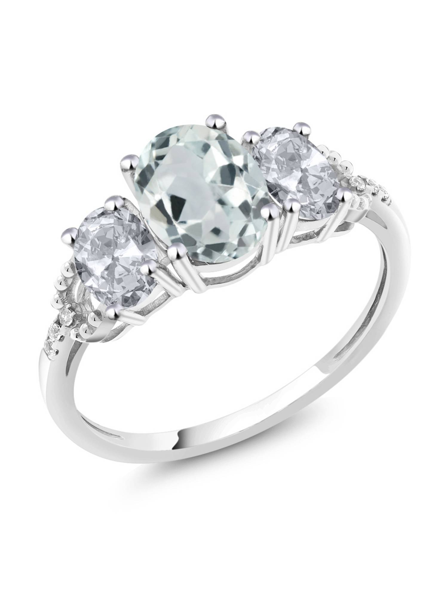 Diamond Accent 10k White Gold 2.15 Ct Oval Sky Blue Aquamarine White Topaz Ring by