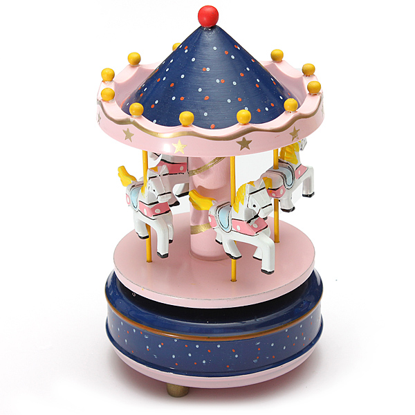 Kids Funny Wooden Merry-Go-Round Musical Box 4-Horse Figurine Rotating Carousel Music Box with Tune Castle Toy... by