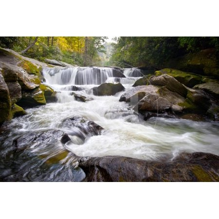 Wild Chattooga River Headwaters Geology Western Nc Flowing Waterfall Nature Print Wall Art By -