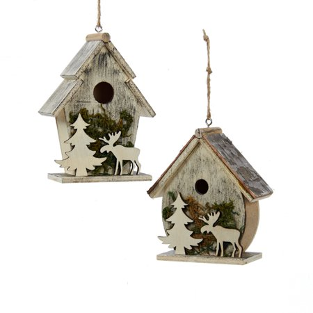 Reindeer Tree Ornament - Club Pack of 12 Wooden Birdhouse with Christmas Tree and Reindeer Cut-Out Christmas Ornament