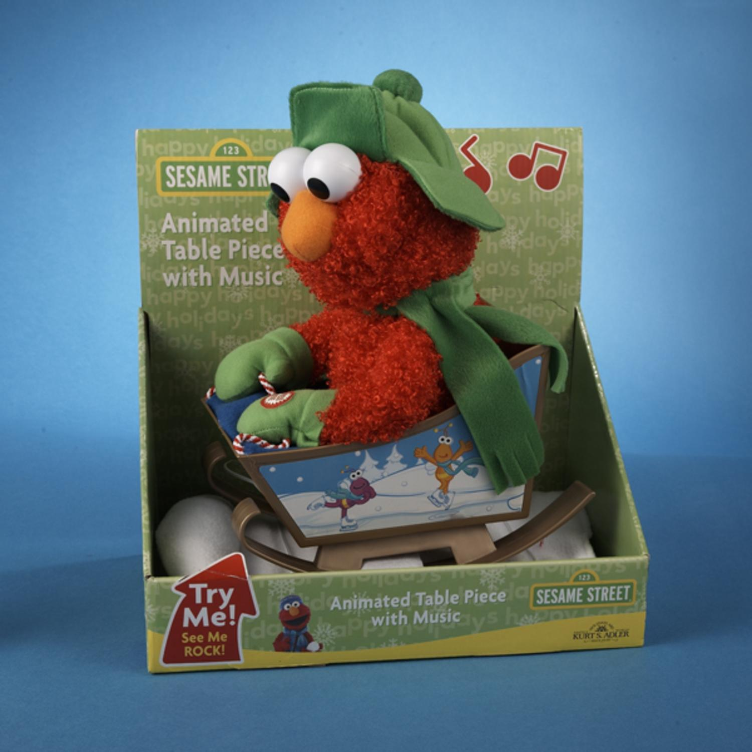 "10"" Sesame Street Animated & Musical Plush Rocking Sleigh Elmo Christmas Figure"