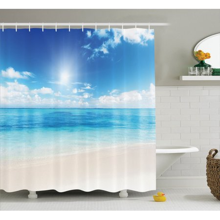 Ocean Decor Shower Curtain Set, Golden Beach View From Caribbean Sea In A Sunny Day Exotic Summer Image Print, Bathroom Accessories, 69W X 70L Inches, By Ambesonne
