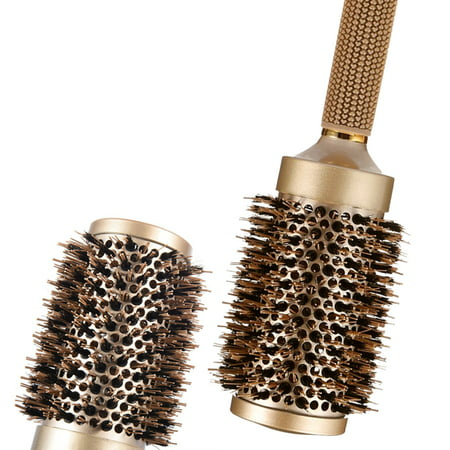 Nano Thermal Ceramic & Ionic Round Barrel Hair Brush Large Round Hair Brush with Boar Bristle 3.3 inch, for Hair Drying, Styling, Curling, Adding Hair Volume and Shine, Gold Brown.(3.3 inch)