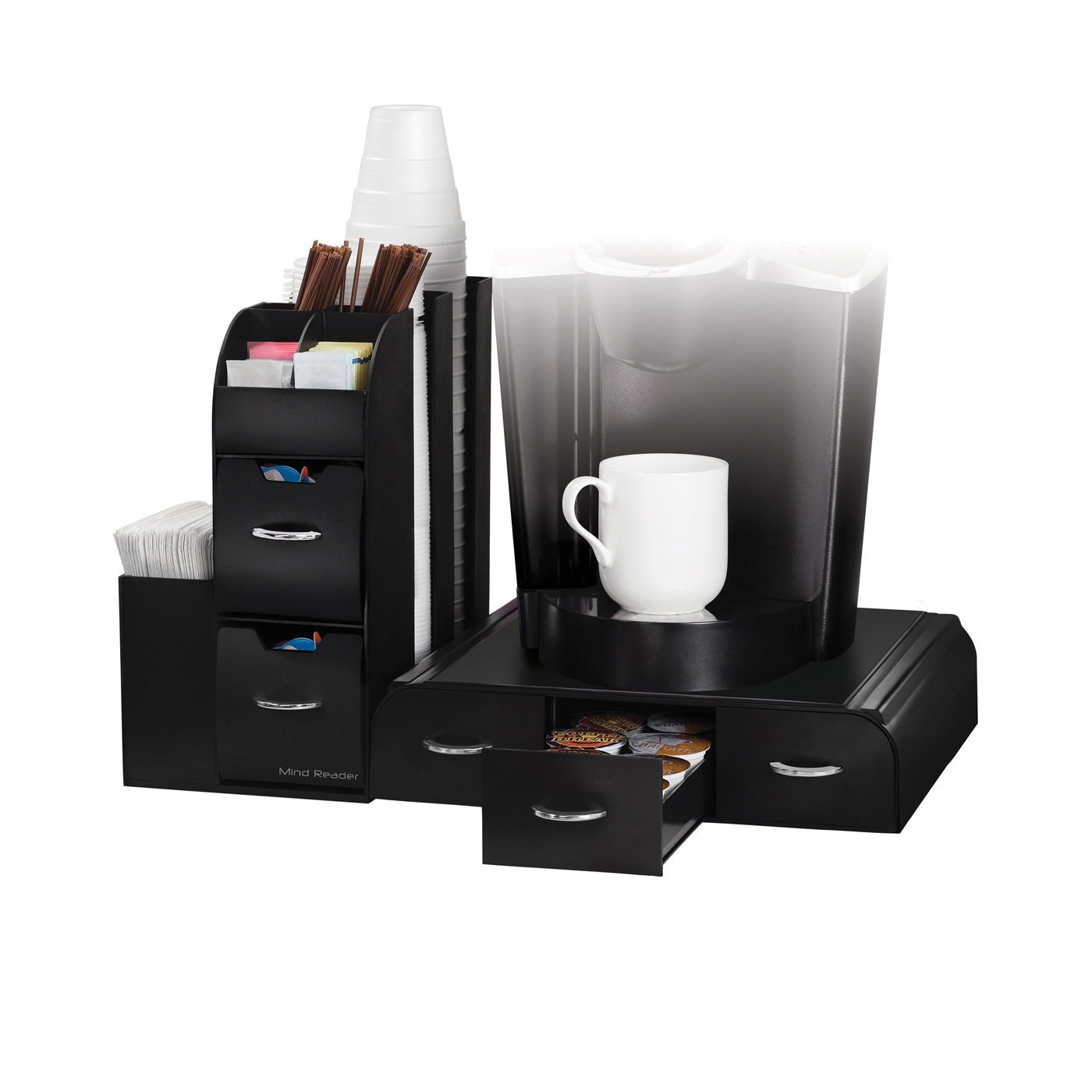 Mind Reader 2-Piece K-Cup Single Serve Coffee Pod Drawer and Condiment Organizer Caddy Station, Black