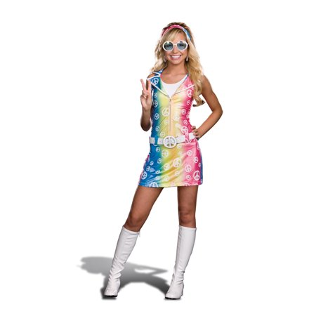 Sassy Polly Ester Retro 60's 70's Peace Sign Junior Dress Costume - 60's Themed Halloween Costumes