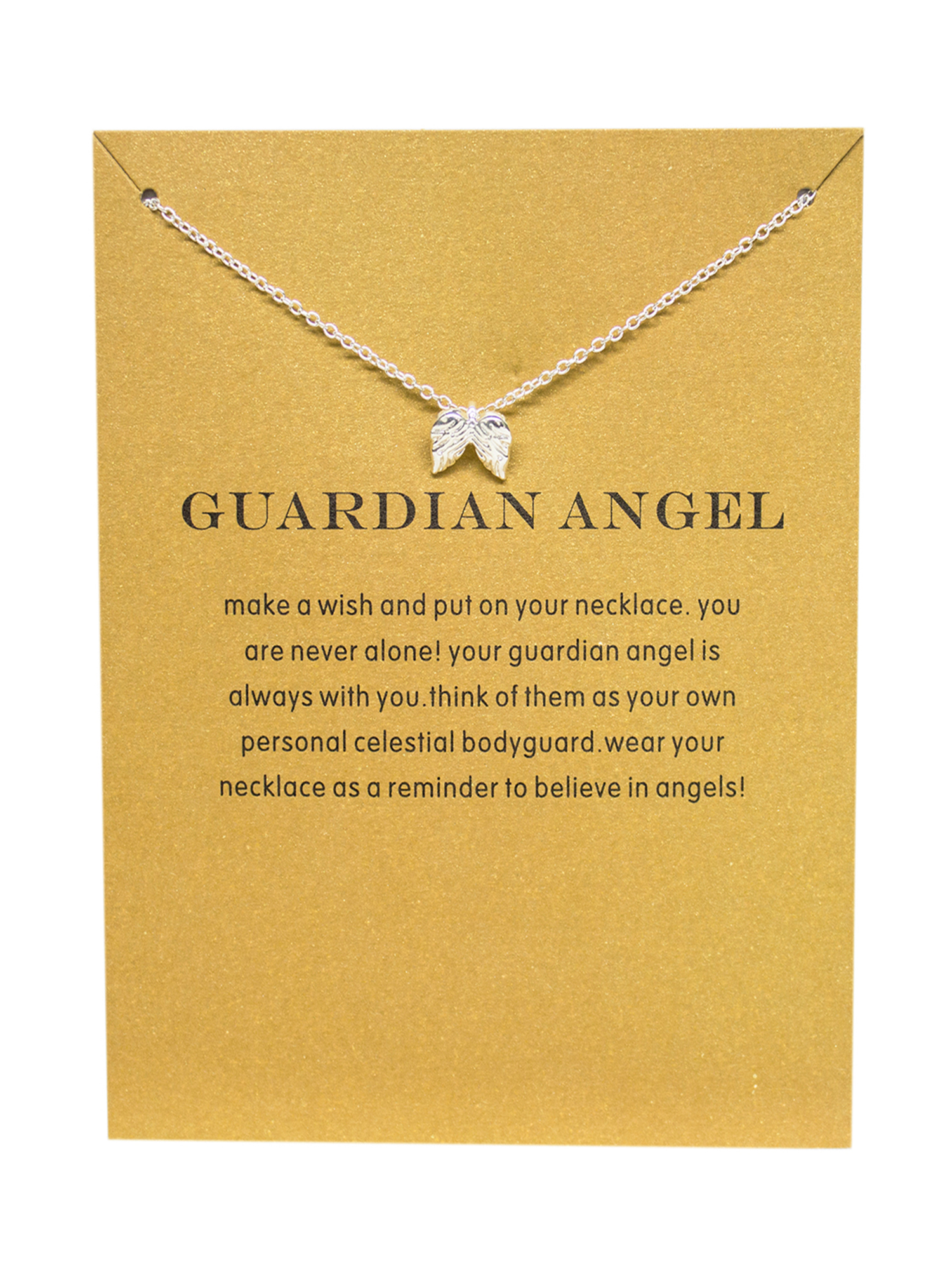 StylesILove - StylesILove Inspirational Quote Valentine\'s Day Clavicle  Chain Women\'s Necklace in Original Package (Silver, Guardian Angel) - ...