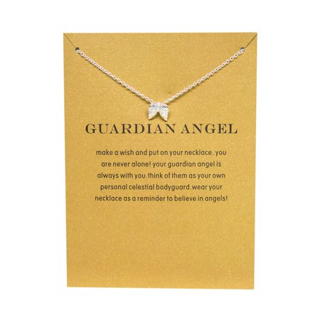 StylesILove Inspirational Quote Valentine's Day Clavicle Chain Women's Necklace in Original Package (Silver, Guardian Angel) - Guardian Angel Necklace