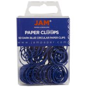 JAM Round Paper Clips, Navy Blue Paperclips, 50/Pack