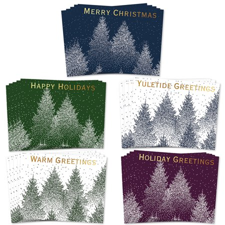 Pretty Forest Scene Christmas Cards 25 Pack with Envelopes 5 Assorted Beautiful Snowy Woodland Design Mix Warm Seasonal Wishes to Coworkers Family Neighbors Friends Boxed Set by Digibuddha