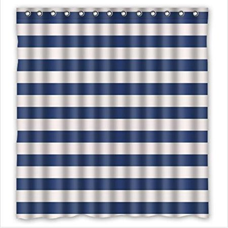Hellodecor White And Navy Blue Stripe Shower Curtain