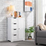 Topeakmart Wooden Bathroom Cabinet Storage Floor Cabinet Bathroom Storage Unit with 4 Drawers & Cupboard White