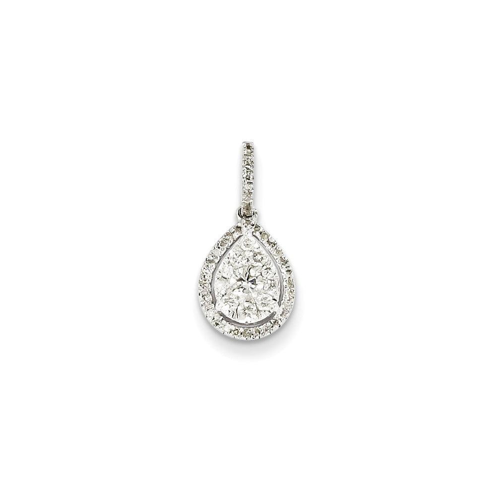 14K White Gold Diamond Pear Shape Pendant. Carat Wt- 0.35ct