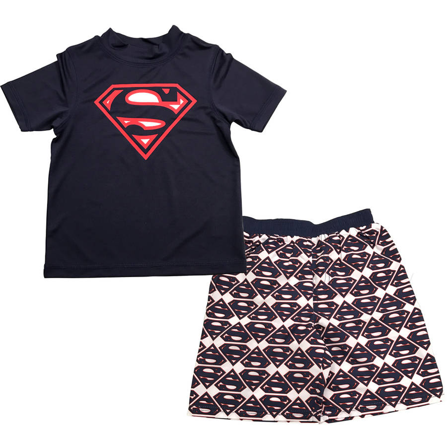 Superman Toddler Boy Swim Set with Swim Short and Rash Guard