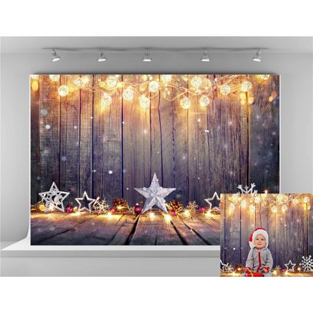 HelloDecor Polyster Christmas Wood Backgrounds for Photography 7x5ft Yellow Lighting Decoration Backdrops Photo Booth for Children - Backdrop For Photo Booth