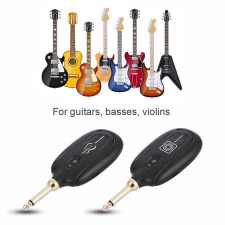 HURRISE Wireless Guitar System, M7 Rechargeable UHF Audio Transmission Set with Transmitter Guitar Wireless Receiver for Electric Guitar Bass Violin Musical Instrument