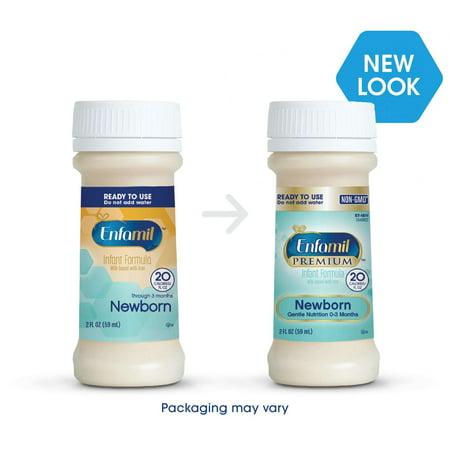 Enfamil Newborn PREMIUM Infant Formula, Ready to Use, 2 Fluid Ounce Nursette Bottles, 6 Pack
