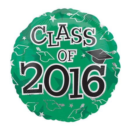 Anagram Class of 2016 Grad Caps Round Mylar 18