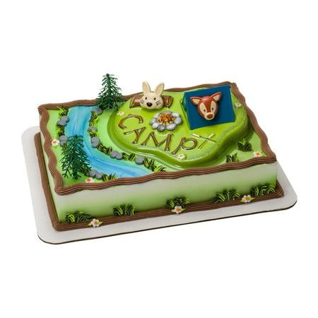 Trooper Base - Camping Adventure Cake Topper Decorating Kit, Includes plastic green CAMP base, tent, 2 trees, and 2 rings (bunny and fox) By Bakery Supplies