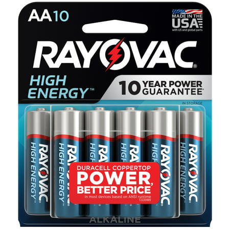 Rayovac High Energy AA Batteries (10 Pack), Double A Batteries