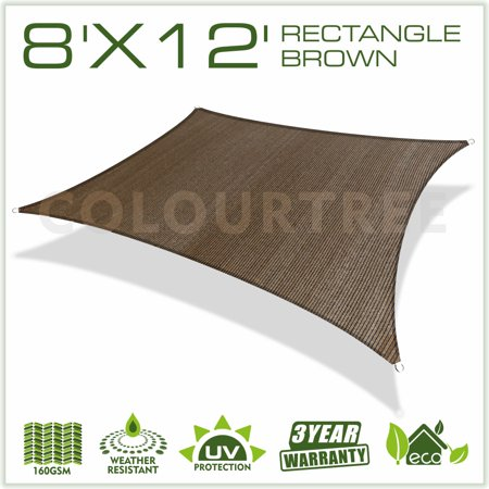 - ColourTree 8' x 12' Sun Shade Sail Canopy Rectangle Brown - Commercial Standard Heavy Duty - 160 GSM - 4 Years Warranty