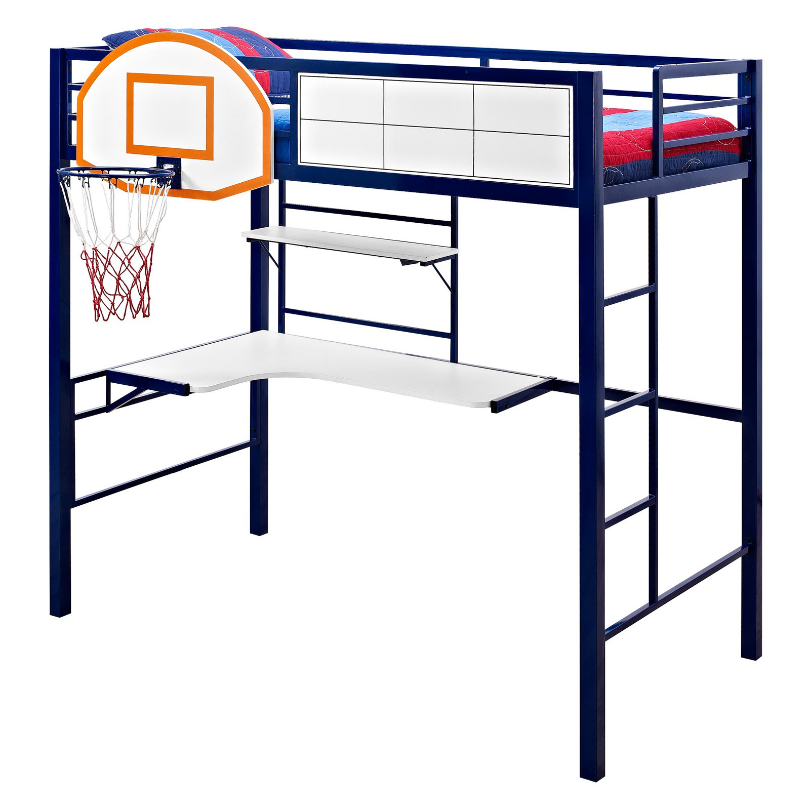 Powell Twin Loft Bed with Study and Basketball Hoop, Blue