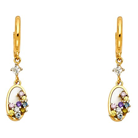 Gold Multi Color Gems (FB Jewels 14K Yellow Gold Multi Color Cubic Zirconia CZ Dangle Womens Earrings 25MM X 5MM)