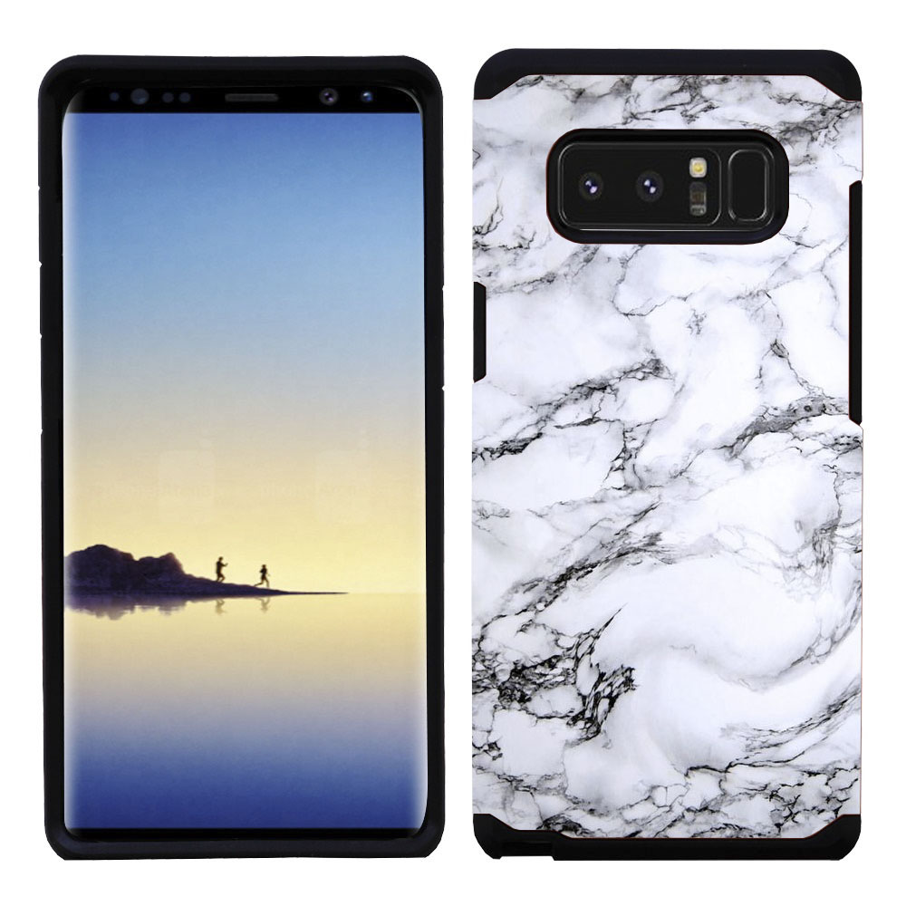 Kaleidio Case For Samsung Galaxy Note 8 [Astro Armor] Rugged Slim Fit [Shock Absorption] [Dual Layer] Hard Hybrid Cover w/ Overbrawn Prying Tool [White Marble Design]