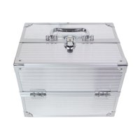 """Creative Options Four Tray 11.25"""" Storage Case, Silver"""