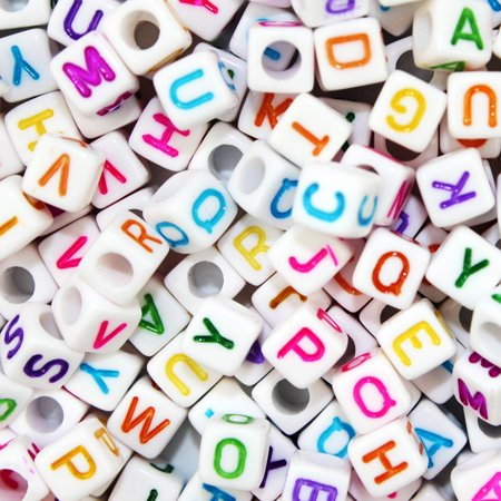 Acrylic Letter Beads White Alphabet Beads Cube with Colorful Letters for DIY Bracelets Necklaces Handmade Gift, 800pcs Pack