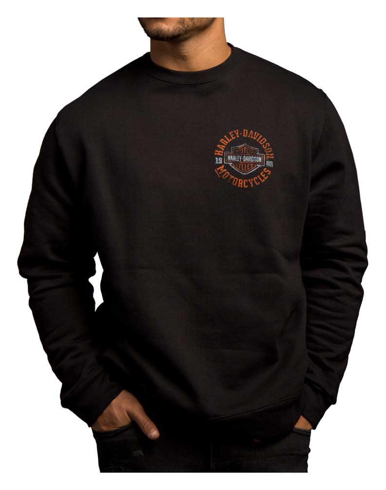 Harley-Davidson Men's Strange Gear Crew Neck Pullover Fleece, Black 5T36-HC71, Harley Davidson