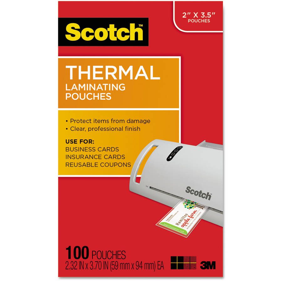 "Scotch Business Card Size Thermal Laminating Pouches, 5 mil, 3-3/4"" x 2 3/8"", 100pk"