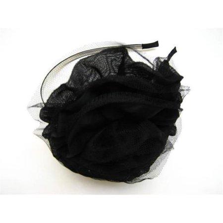 Alur Jewelry 13154BK Fabric Flower Head Band Black