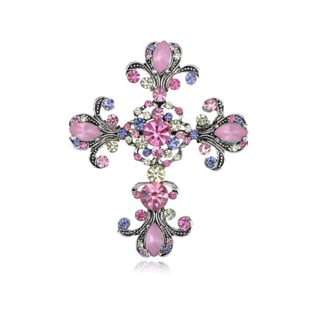 Chic Repro Bright Pink Pastel Holy   Flowery Cross Pin Brooch