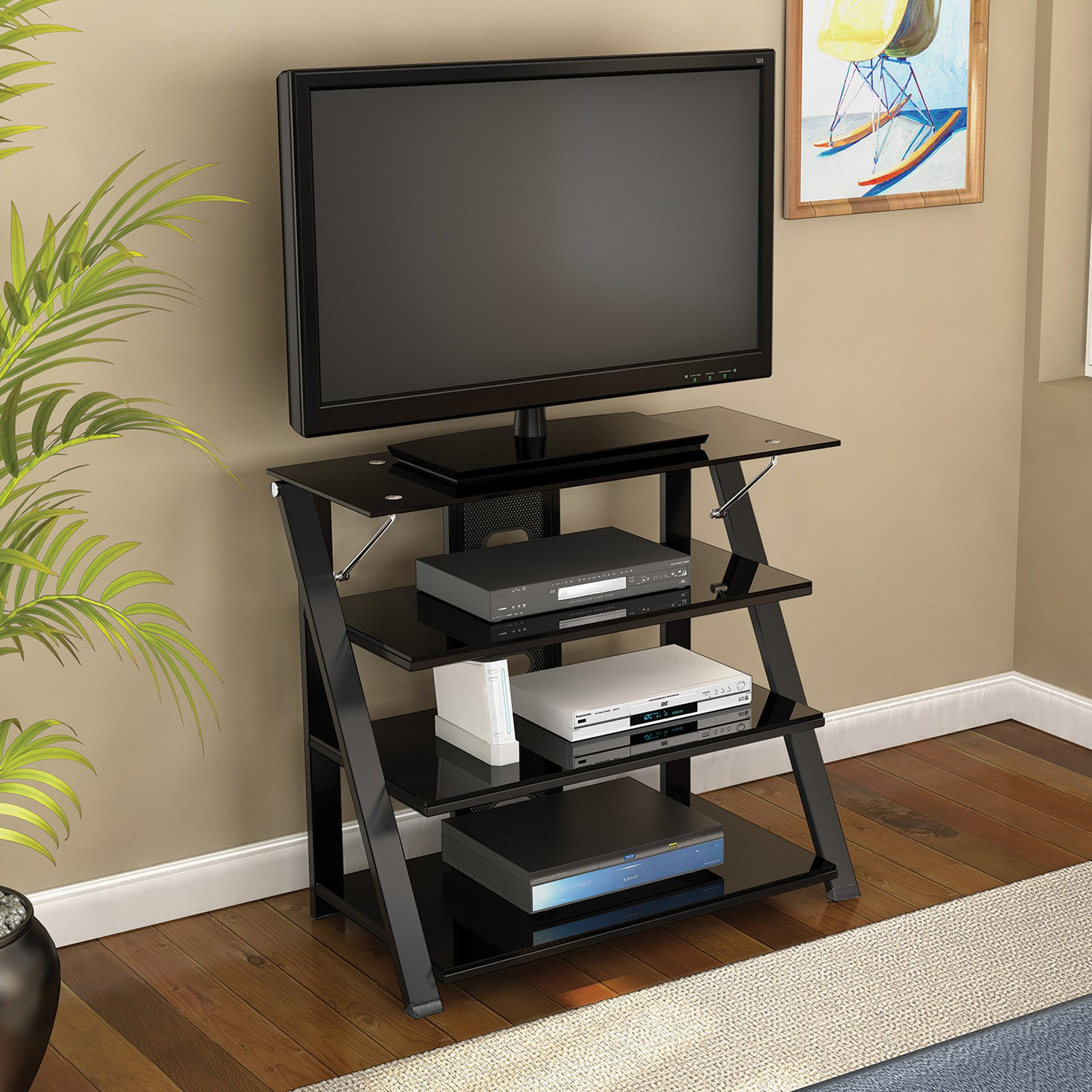 "Z-Line Designs Prizm Highboy Television Standfor TVs up to 50"", Black"