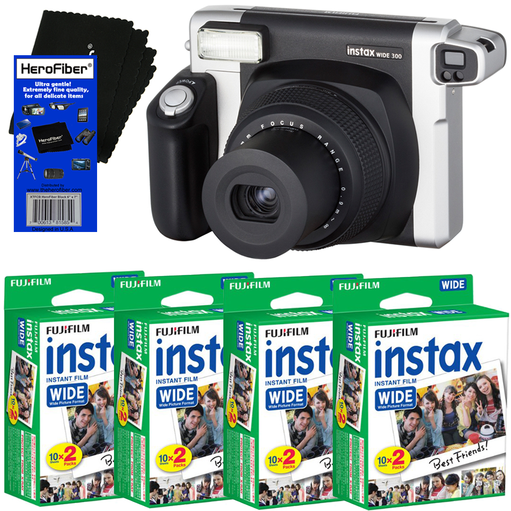 FujiFilm INSTAX 300 Wide-Format Instant Photo Film Camera (Black Silver) + FujiFilm instax Wide Instant Film... by Fujifilm