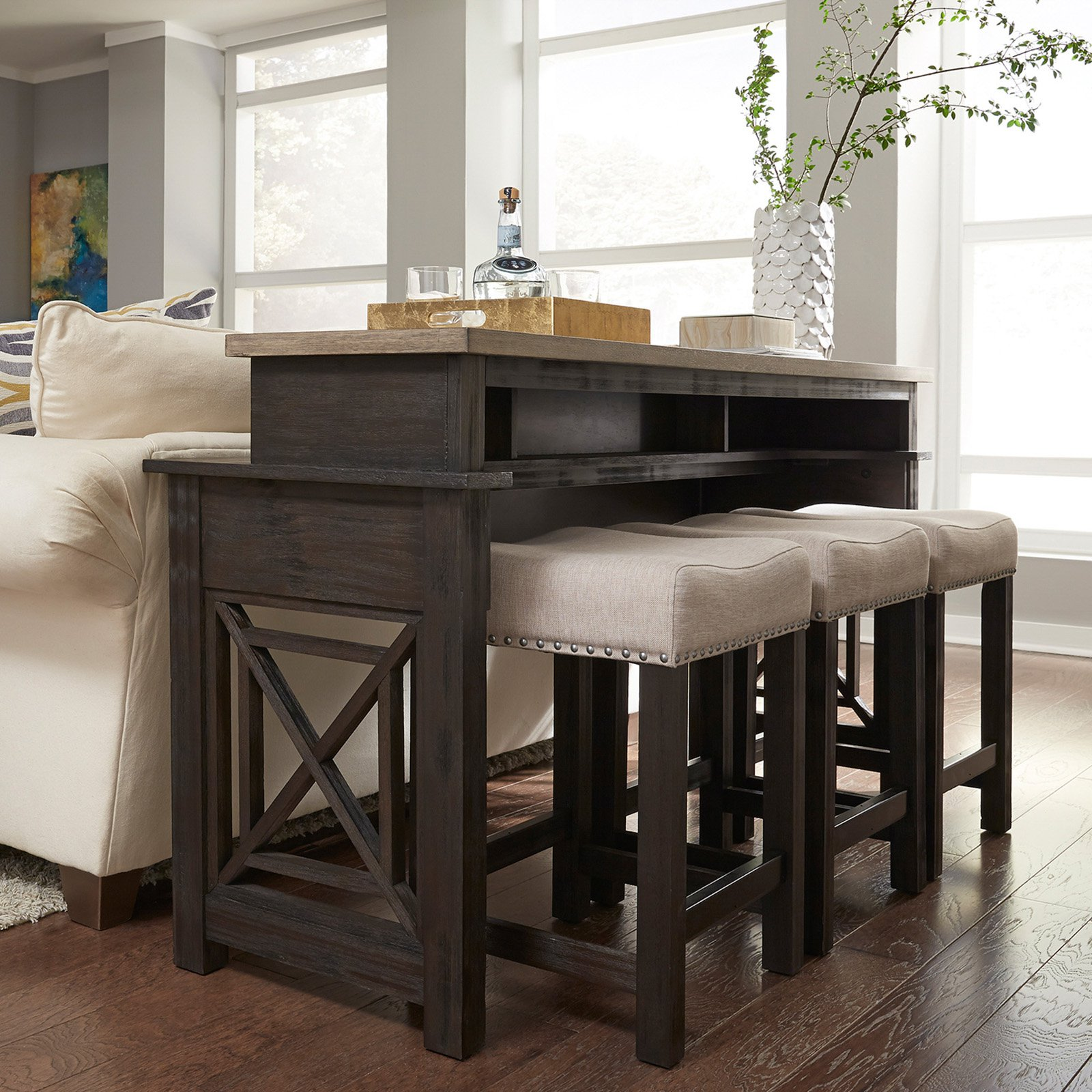 Liberty Furniture Industries Heatherbrook Console Table with Stools