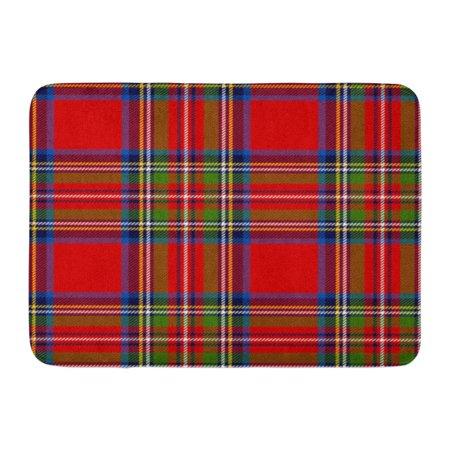 Royal Stewart Kilt - LADDKE Red Check Scottish Plaid in Classic Colors Royal Stewart Tartan Pattern Clipping Mask Blue Kilt Doormat Floor Rug Bath Mat 23.6x15.7 inch