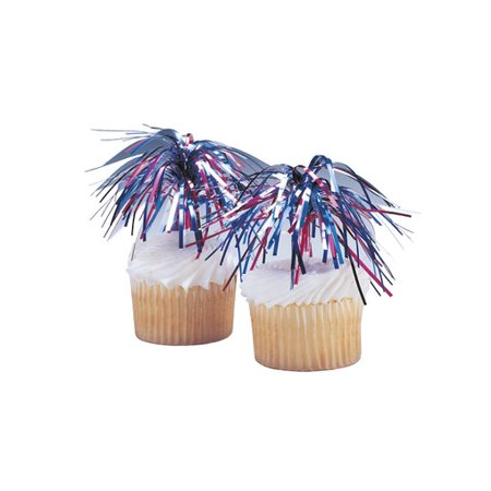 Food Network Halloween Cupcakes (Independence Day Mylar Spray 4th of July -24pk Cupcake / Desert / Food Decoration Topper Picks with Favor Stickers & Sparkle)