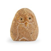 Cobblestone Brown Owl - Carved Stone