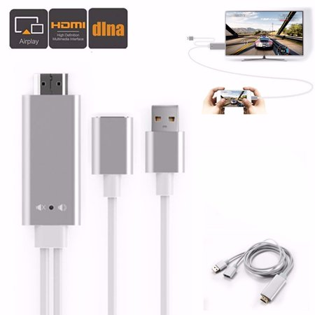 6.6ft/2M 3in1 1080P HD Wireless HDTV DLNA Air play Display Dongle Cable Adapter For IOS Smartphone Support H DMI Output (Wireless Cable Tv Adapter)