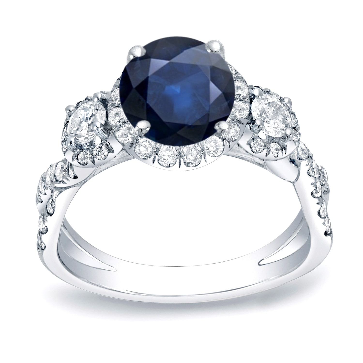 Auriya 14k Gold 1ct Blue Sapphire and 1ct TDW Round Diamond Engagement Ring (H-I, SI1-SI2) Yellow Gold - Size 5