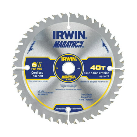 Irwin Marathon 6-1/2 in. Dia. x 5/8 in. Carbide Circular Saw Blade 40 teeth 1 pc. 40 Carbide Teeth Circular Saw