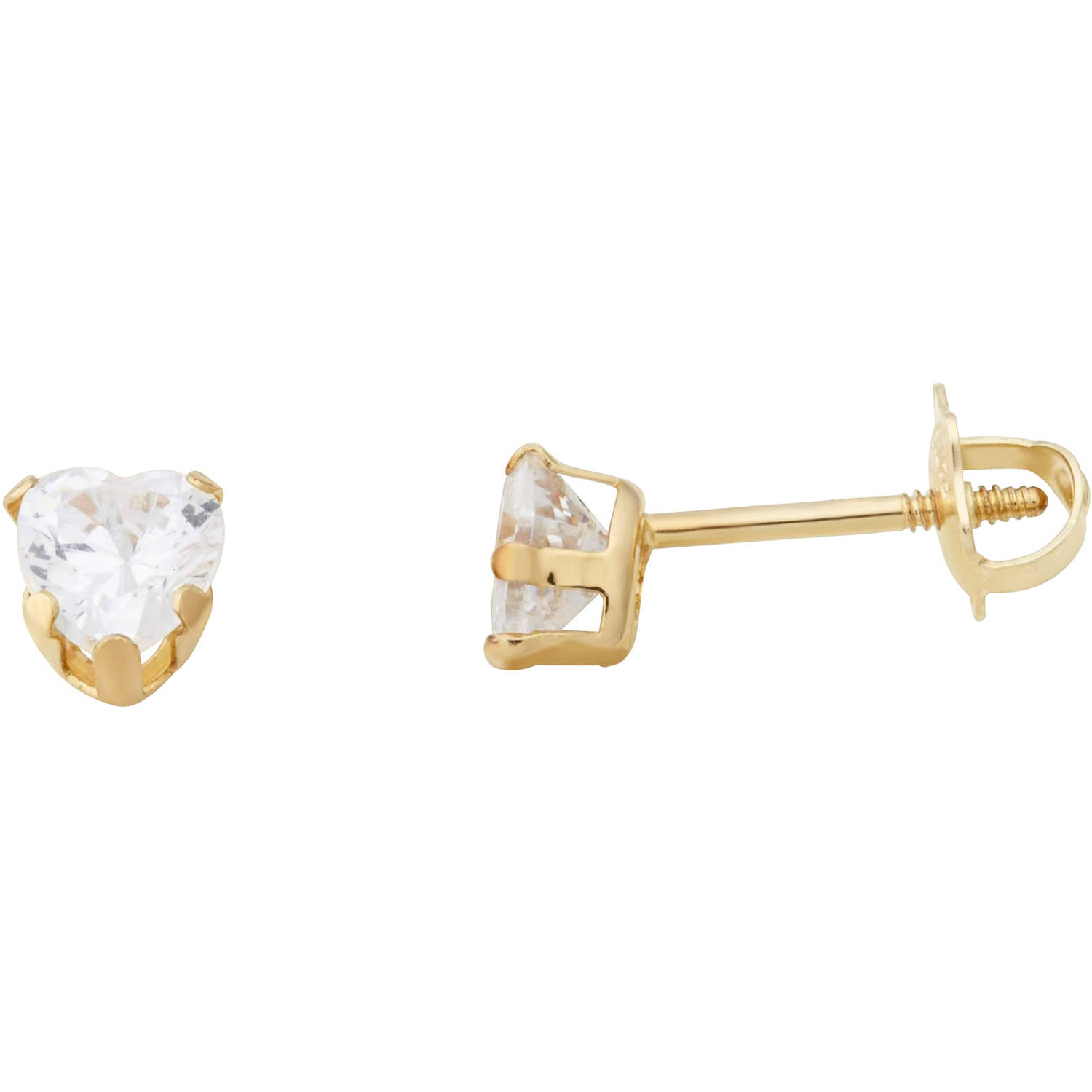 Simply Gold Kids' 10kt Yellow Gold 4mm CZ Heart Stud Earrings
