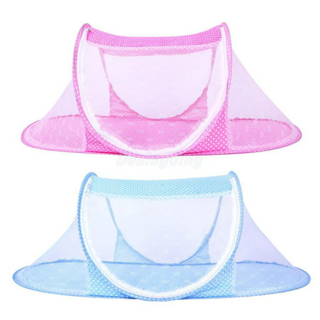 Baby Mosquito Net Crib Bed, Portable Folding Baby Mosquito Bed Net Infant Nursery Bed Crib Canopy Baby Beach Tent, Pink