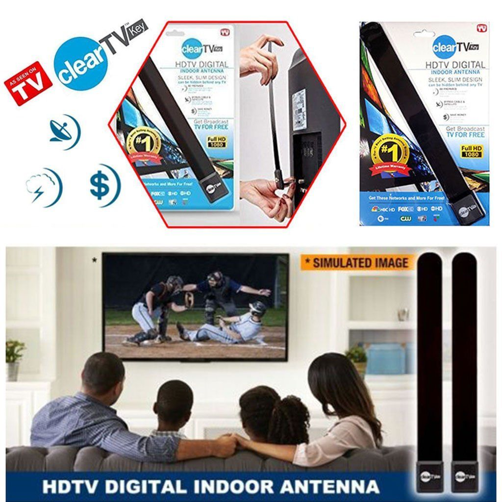 New Clear TV Key HDTV FREE TV Digita l Indoor Antenna Ditch Cable As Seen on TV